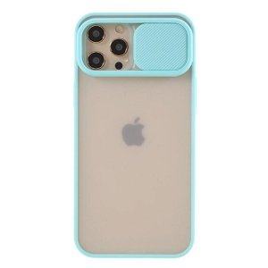 iPhone 12 Pro Max Frosted Plastik Bagside Cover m. Camslider - Cyan