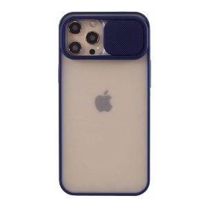 iPhone 12 Pro Max Frosted Plastik Case Med CamSlider - Blå