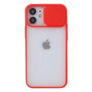 iPhone 12 / 12 Pro Frosted Plastik Bagside Cover m. Camslider - Rød