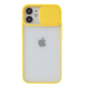 iPhone 12 / 12 Pro Frosted Plastik Bagside Cover m. Camslider - Gul