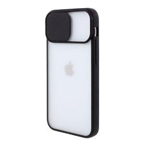 iPhone 12 Mini  Frosted Plastik Cover - Sort - m. Cam slider