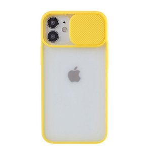 iPhone 12 Mini Frosted Plastik Cover m. Camslider - Gul