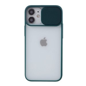 iPhone 12 Mini Frosted Plastik Cover m. Camslider - Grøn