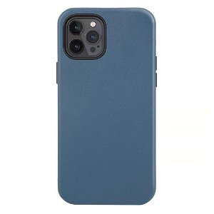 iPhone 12 / 12 Pro Cover Ægte Læder  - MagSafe Kompatibel - Blå