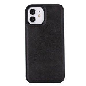 iPhone 12 / 12 Pro  Plastik Cover Læderbetrukket - MagSafe Kompatibel - Sort
