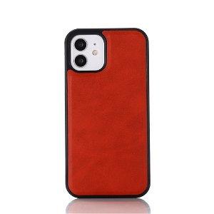 iPhone 12 / 12 Pro Læderbetrukket Plastik Cover - MagSafe Kompatibel - Rød