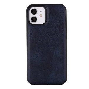 iPhone 12 / 12 Pro Plastik Cover Læderbetrukket  - MagSafe Kompatibel - Mørkeblå