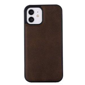 iPhone 12 / 12 Pro Plastik Cover Læderbetrukket - MagSafe Kompatibel - Brun