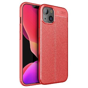 iPhone 13 Fleksibelt Plastik Bagside Cover Litchi Tekstur - Rød