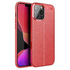 iPhone 13 Pro Max Fleksibelt Plastik Bagside Cover Litchi Tekstur - Rød