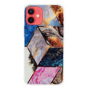 iPhone 13 Mini Fleksibel Plastik Bagside Cover - Farvet Marmor