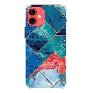 iPhone 13 Fleksibel Plastik Bagside Cover - Blå Marmor