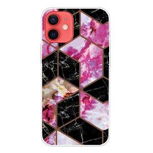 iPhone 13 Fleksibel Plastik Bagside Cover - Sort / Pink Marmor