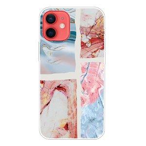 iPhone 13 Fleksibel Plastik Bagside Cover - Himmelblå / Lyserød Marmor