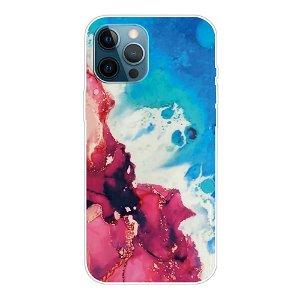 iPhone 13 Pro Fleksibel Plastik Bagside Cover - Lyserød / Blå Marmor