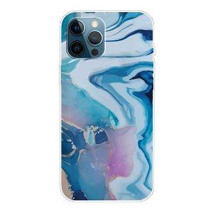 iPhone 13 Pro Fleksibel Plastik Bagside Cover - Blå Marmor