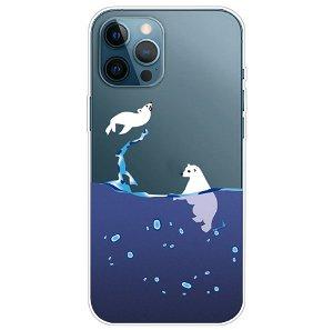 iPhone 13 Pro Max Fleksibel Plastik Bagside Cover - Isbjørn og Sæl