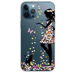 iPhone 13 Pro Max Fleksibel Plastik Bagside Cover - Blomsterpige