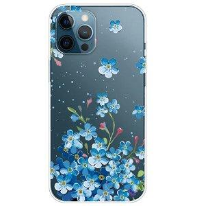 iPhone 13 Pro Max Fleksibel Plastik Bagside Cover - Blå Blomster