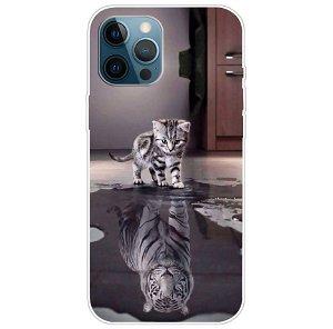 iPhone 13 Pro Fleksibel Gennemsigtig Plastik Bagside Cover - Tiger og Killing