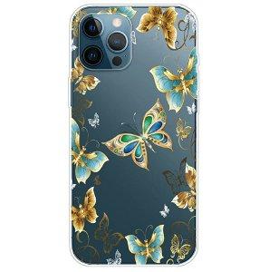iPhone 13 Pro Fleksibel Gennemsigtig Plastik Bagside Cover - Sommerfugle