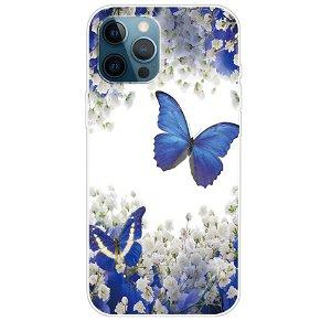 iPhone 13 Pro Fleksibel Gennemsigtig Plastik Bagside Cover - Blå Sommerfugle