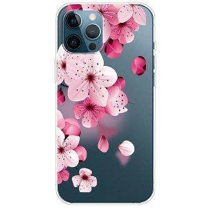iPhone 13 Pro Fleksibel Gennemsigtig Plastik Bagside Cover - Lyserøde Blomster