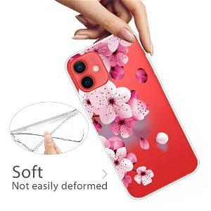 iPhone 13 Mini Fleksibel Gennemsigtig Plastik Bagside Cover - Fersken Blomster