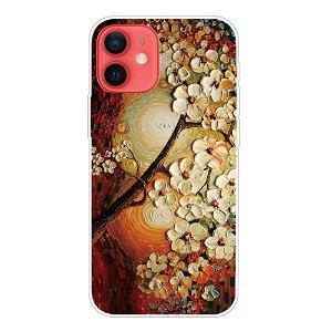 iPhone 13 Fleksibel Plastik Bagside Cover - Træ med Blomster