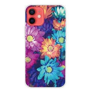 iPhone 13 Fleksibel Plastik Bagside Cover - Farvet Blomster