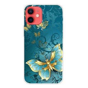 iPhone 13 Fleksibel Plastik Bagside Cover - Blå Sommerfugl