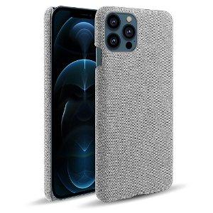 iPhone 13 Pro KSQ Stof Plastik Bagside Cover - Lysegrå