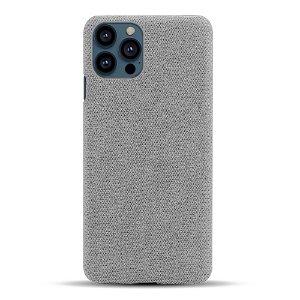iPhone 13 Pro Max KSQ Stof Plastik Bagside Cover - Grå