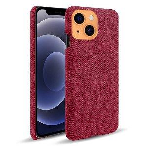 iPhone 13 KSQ Stof Plastik Bagside Cover - Rød