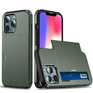 iPhone 13 Pro Max Håndværker Cover m. Kortholder - Mørkegrøn
