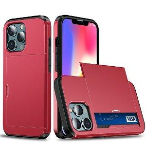 iPhone 13 Mini Håndværker Cover m. Kortholder - Rød