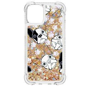 iPhone 13 TPU Plastik Bagside Cover m. Glitter og Motiv - Sort/Hvid Hunde
