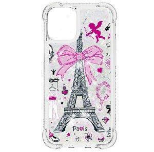 iPhone 13 TPU Plastik Bagside Cover m. Glitter og Motiv - Eiffeltårnet
