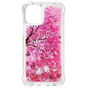 iPhone 13 TPU Plastik Bagside Cover m. Glitter og Motiv - Lyserødt Træ