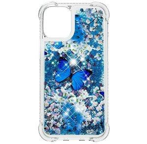 iPhone 13 TPU Plastik Bagside Cover m. Glitter og Motiv - Blå Sommerfugl