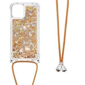 iPhone 13 TPU Plastik Bagside Cover m. Glitter og Skulderstrop - Guld