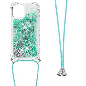 iPhone 13 TPU Plastik Bagside Cover m. Glitter og Skulderstrop - Grøn / Lilla