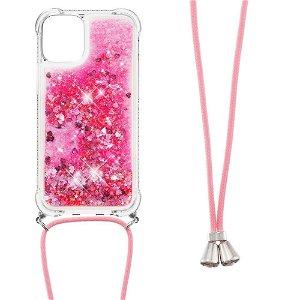 iPhone 13 TPU Plastik Bagside Cover m. Glitter og Skulderstrop - Lyserød