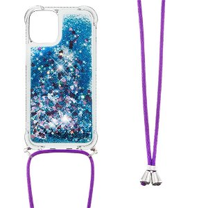 iPhone 13 TPU Plastik Bagside Cover m. Glitter og Skulderstrop - Blå / Lyserød