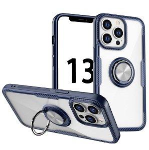 iPhone 13 Pro Håndværker Bagside Cover m. Magnetisk Kickstand - Gennemsigtig / Blå