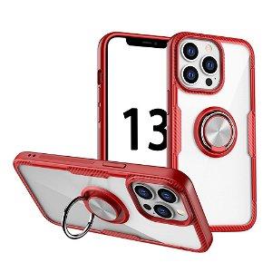 iPhone 13 Pro Håndværker Bagside Cover m. Magnetisk Kickstand - Gennemsigtig / Rød
