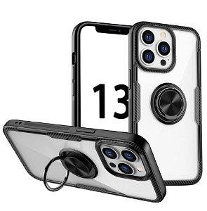 iPhone 13 Pro Håndværker Bagside Cover m. Magnetisk Kickstand - Gennemsigtig / Sort