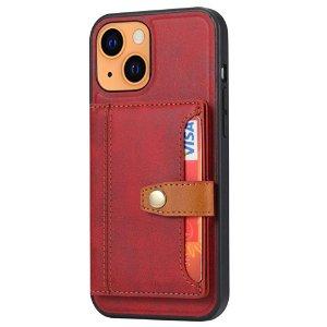 iPhone 13 Hybrid Bagside Cover m. Kortholder - Rød