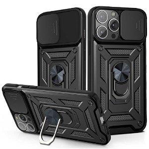 iPhone 13 Pro Max Håndværker Bagside Cover m. Magnetisk Kickstand & Cam Slider - Sort