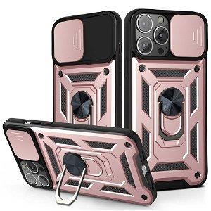 iPhone 13 Pro Max Håndværker Bagside Cover m. Magnetisk Kickstand & Cam Slider - Rose Gold